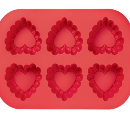 Red Love-Shape Silicone Muffin Mold